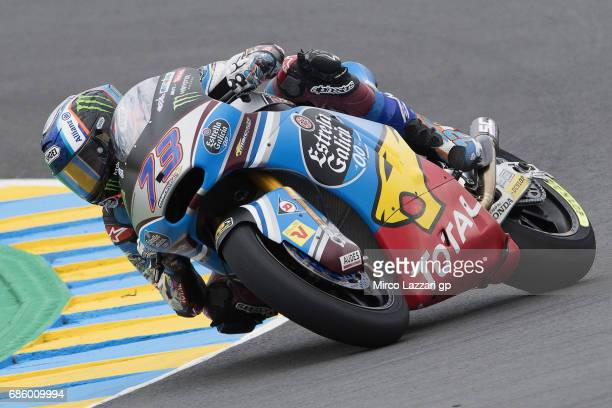 Alex Marquez of Spain and EG 00 Marc VDS rounds the bend during the MotoGp of France Qualifying on May 20 2017 in Le Mans France