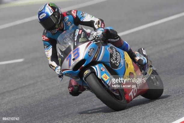 Alex Marquez of Spain and EG 00 Marc VDS rounds the bend during the MotoGp of Catalunya Free Practice at Circuit de Catalunya on June 9 2017 in...
