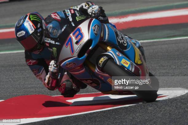 Alex Marquez of Spain and EG 00 Marc VDS rounds the bend during the MotoGp of Catalunya Qualifying at Circuit de Catalunya on June 10 2017 in...