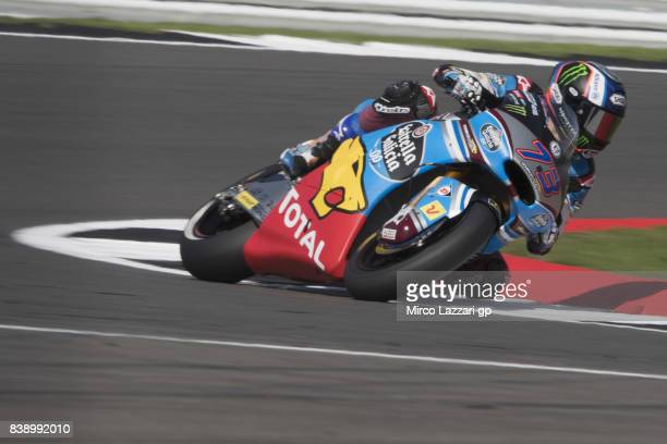 Alex Marquez of Spain and EG 00 Marc VDS rounds the bend during the MotoGp Of Great Britain Free Practice at Silverstone Circuit on August 25 2017 in...