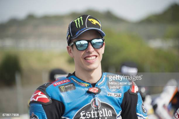 Alex Marquez of Spain and EG 00 Marc VDS smiles in pit during the MotoGp of Spain Previews at Circuito de Jerez on May 4 2017 in Jerez de la Frontera...