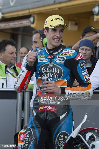 Alex Marquez of Spain and Estrella Galicia 00 celebrates at the end of the qualifying practice during the MotoGP of Valencia Qualifying at Ricardo...