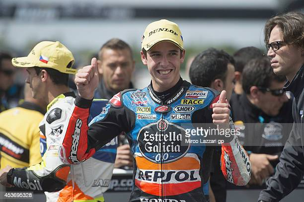 Alex Marquez of Spain and Estrella Galicia 00 celebrates during MotoGp of Czech Republic Qualifying at Brno Circuit on August 16 2014 in Brno Czech...