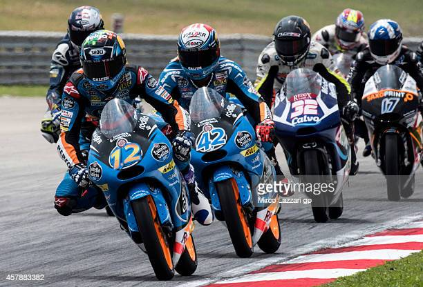 Alex Marquez of Spain and Estrella Galicia 00 leads the field during the Moto3 race during the MotoGP Of Malaysia Race at Sepang Circuit on October...
