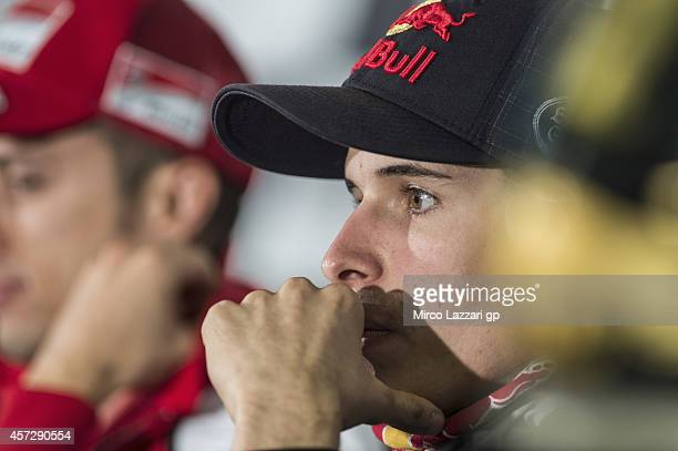Alex Marquez of Spain and Estrella Galicia 00 looks on during the press conference ahead of the 2014 MotoGP of Australia on October 16 2014 in...