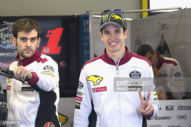 Alex Marquez of Spain and Estrella Galicia 00 Marc VDS greets in box during the MotoGP Netherlands Preview at on June 24 2015 in Assen Netherlands
