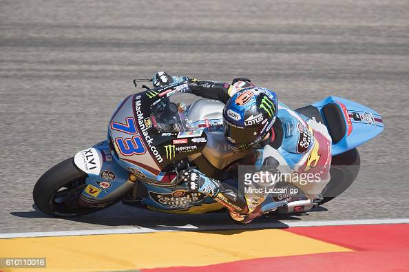 Alex Marquez of Spain and Estrella Galicia 00 Marc VDS Racing Team rounds the bend during the qualifying practice during the MotoGP of Spain...