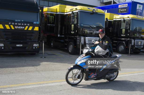 Alex Marquez of Spain and Estrella Galicia 00 rides the scooter in paddock during the MotoGP of San Marino Previews at Misano World Circuit on...