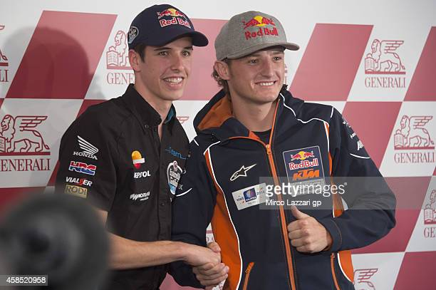 Alex Marquez of Spain and Estrella Galicia and Jack Miller of Australia and Red Bull KTM Ajo pose during the press conference preevent during the...
