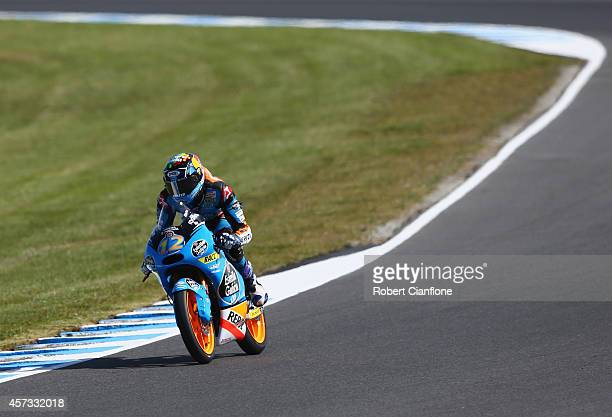 Alex Marquez of Spain rides the Estella Galica OO Honda during free practice for the 2014 MotoGP of Australia at Phillip Island Grand Prix Circuit on...