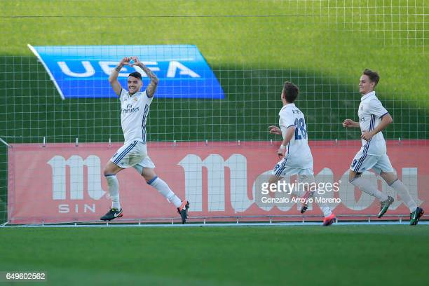 Alex Martin of Real Madrid CF celebrates scoring their second goal during the UEFA Youth League Quarter Final match between Real Madrid CF and AFC...