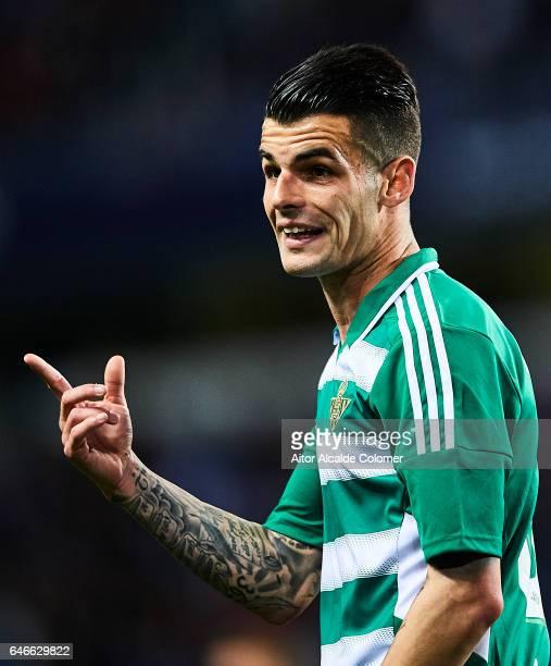 Alex Martinez of Real Betis Balompie reacts during La Liga match between Malaga CF and UD Las Palmas at La Rosaleda Stadium February 28 2017 in...