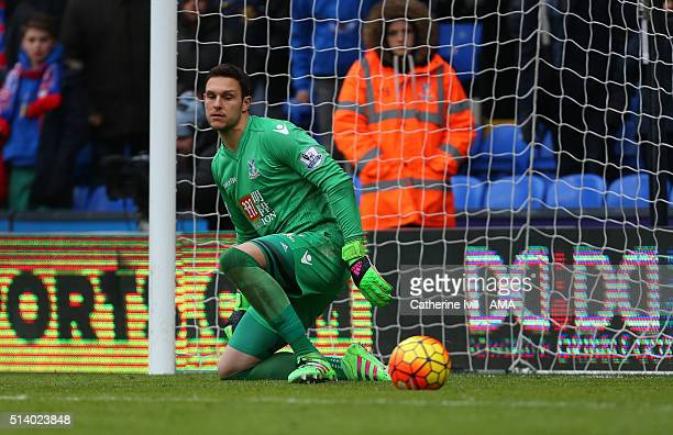 Alex McCarthy of Crystal Palace can only watch the ball go past him as Christian Benteke of Liverpool scores a penalty goal to make it 12 during the...