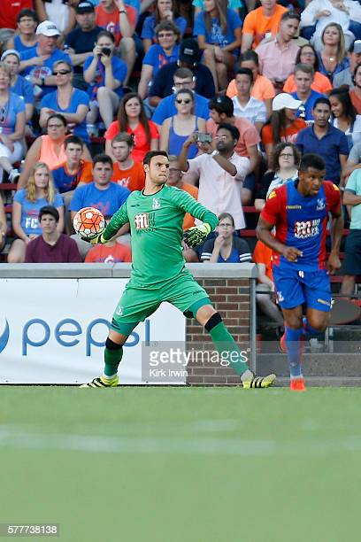Alex McCarthy of Crystal Palace FC clears the ball during the match against FC Cincinnati at Nippert Stadium on July 16 2016 in Cincinnati Ohio
