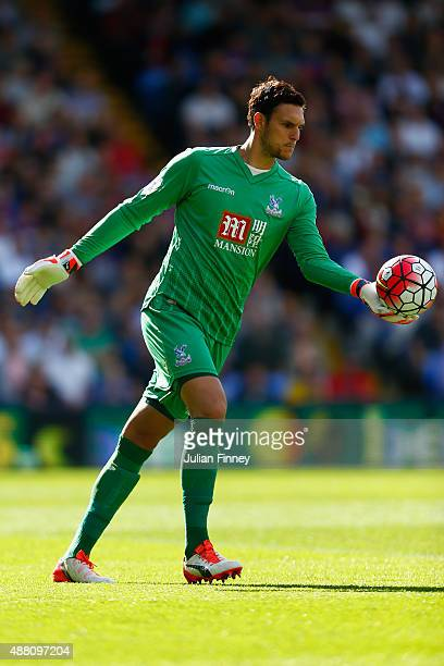 Alex McCarthy of Crystal Palace goes to kick the ball during the Barclays Premier League match between Crystal Palace and Manchester City at Selhurst...