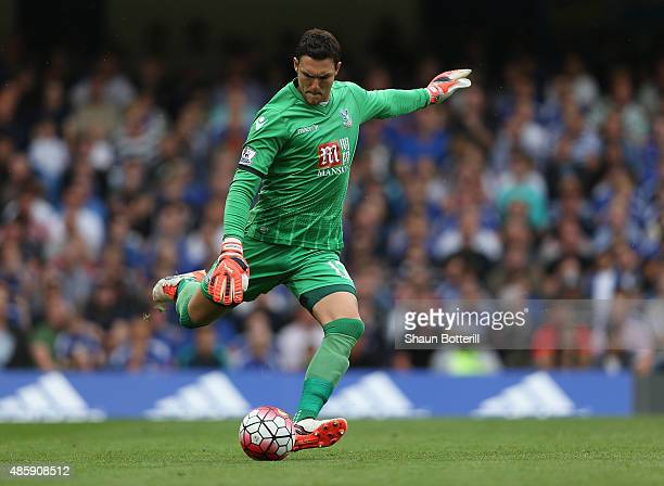 Alex McCarthy of Crystal Palace in action during the Barclays Premier League match between Chelsea and Crystal Palace on August 29 2015 in London...