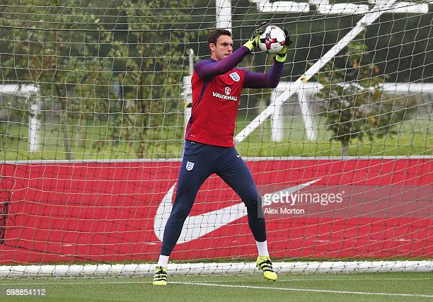Alex McCarthy of England warms up during a training session at St George's Park on September 3 2016 in Burton upon Trent England
