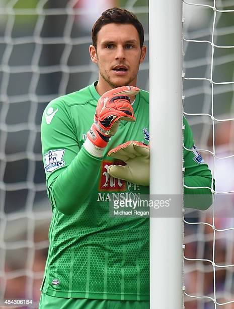 Alex McCarthy of Palace looks on during the Barclays Premier League match between Crystal Palace and Arsenal on August 16 2015 in London United...