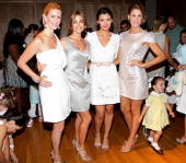 Alex McCord Denise Richards Ali Landry and Annie Kate Pons pose for a photo backstage at the Belle Parish by Ali Landry Spring 2011 fashion show...