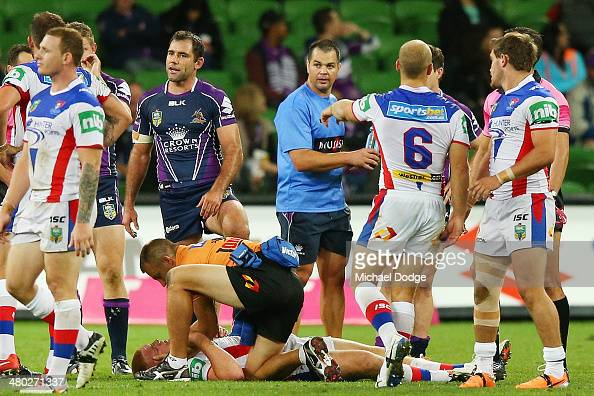 Alex McKinnon of the Knights lays on the ground after being tackled during the round three NRL match between the Melbourne Storm and the Newcastle...