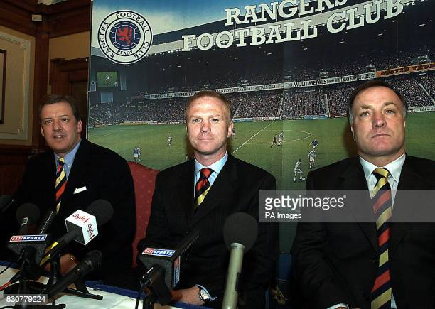 Alex McLeish is unveiled as the new manager of Glasgow Rangers with former manager Dick Advocaat and club chairman David Murray at Ibrox Stadium *...