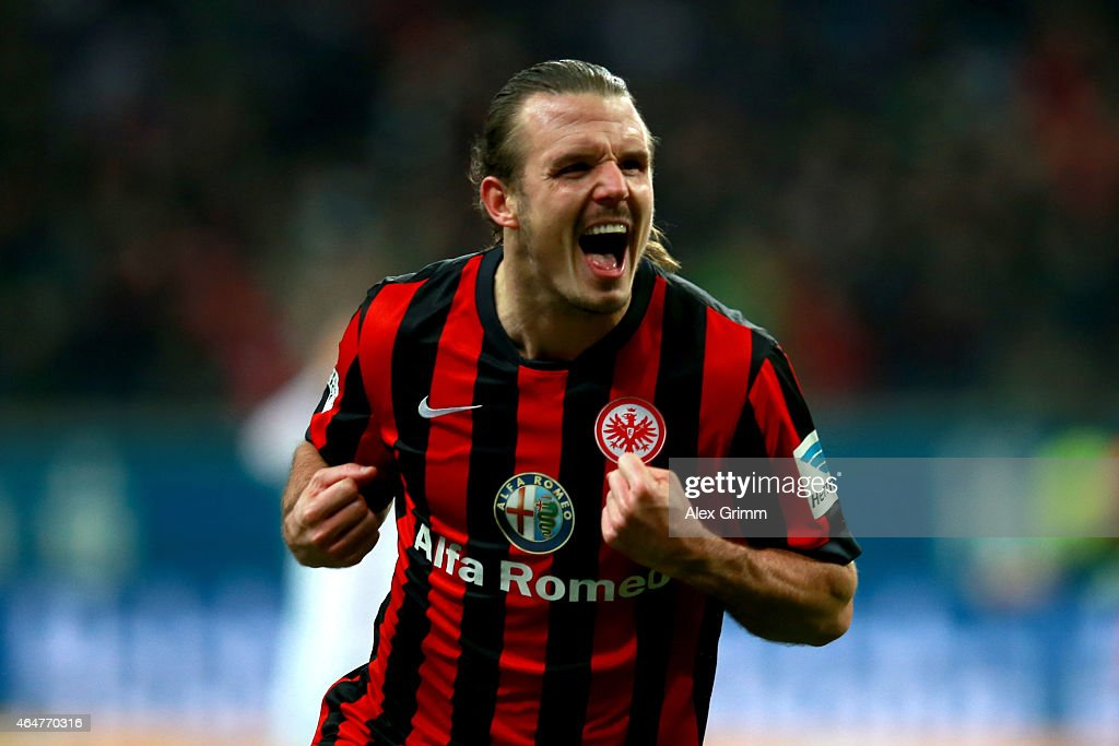 Alex Meier of Frankfurt celebrates scoring the 2nd team goal during the Bundesliga match between Eintracht Frankfurt and Hamburger SV at Commerzbank-Arena on February 28, 2015 in Frankfurt am Main, Germany.