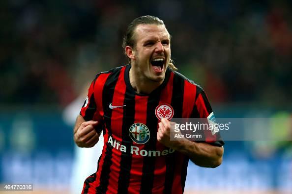 Alex Meier of Frankfurt celebrates scoring the 2nd team goal during the Bundesliga match between Eintracht Frankfurt and Hamburger SV at...