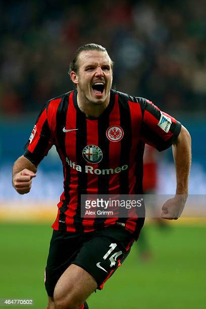 Alex Meier of Frankfurt celebrates scoring the 2nd team goal during the Bundesliga match between Eintracht Frankfurt and Hamburger SV at...