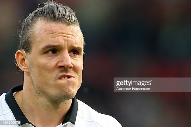 Alex Meier of Frankfurt reacts after the Bundesliga match between FC Ingolstadt and Eintracht Frankfurt at Audi Sportpark on October 3 2015 in...