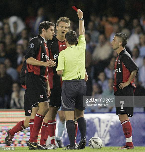 Alex Meier of Frankfurt receives a red card during the UEFA Cup group H match between Celta Vigo and Eintracht Frankfurt at the Balaidos stadium on...