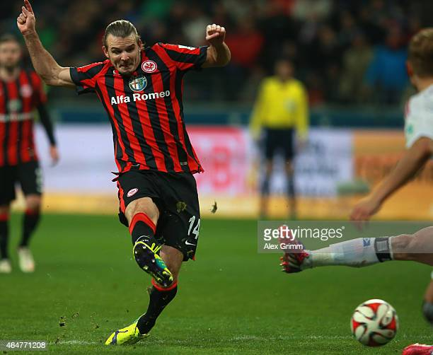 Alex Meier of Frankfurt scores the 2nd team goal during the Bundesliga match between Eintracht Frankfurt and Hamburger SV at CommerzbankArena on...