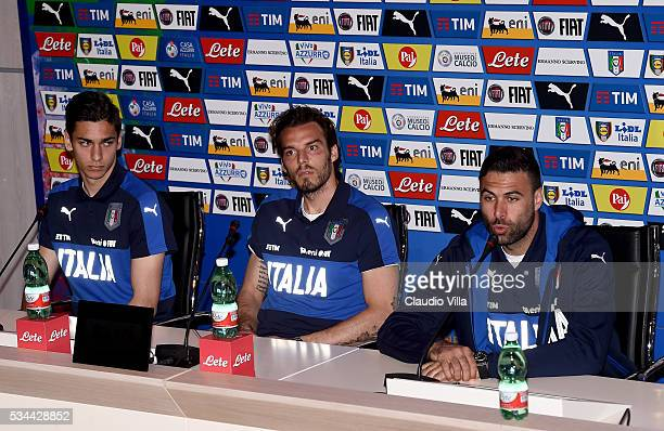 Alex Meret Federico Marchetti and Salvatore Sirigu of Italy speak to the media during a press conference at the club's training ground at Coverciano...