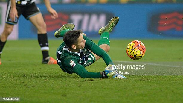 Alex Meret goalkeeper saves a shot during the TIM Cup match between Udinese Calcio and Atalanta BC at Stadio Friuli on December 2 2015 in Udine Italy