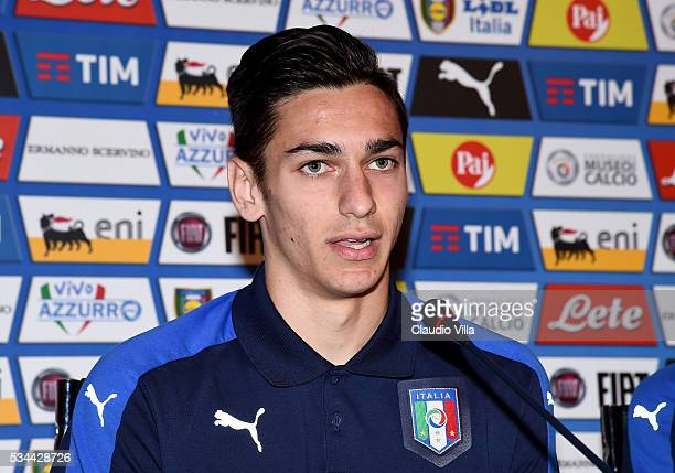 Alex Meret of Italy speaks to the media during a press conference at the club's training ground at Coverciano on May 26 2016 in Florence Italy