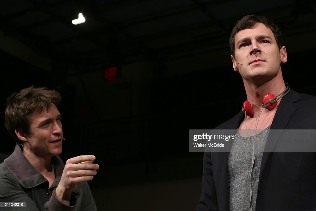 Alex Michael Stoll and Benjamin Walker during the 'American Psycho' press preview at The New 42nd Street Studios on February 18 2016 in New York City