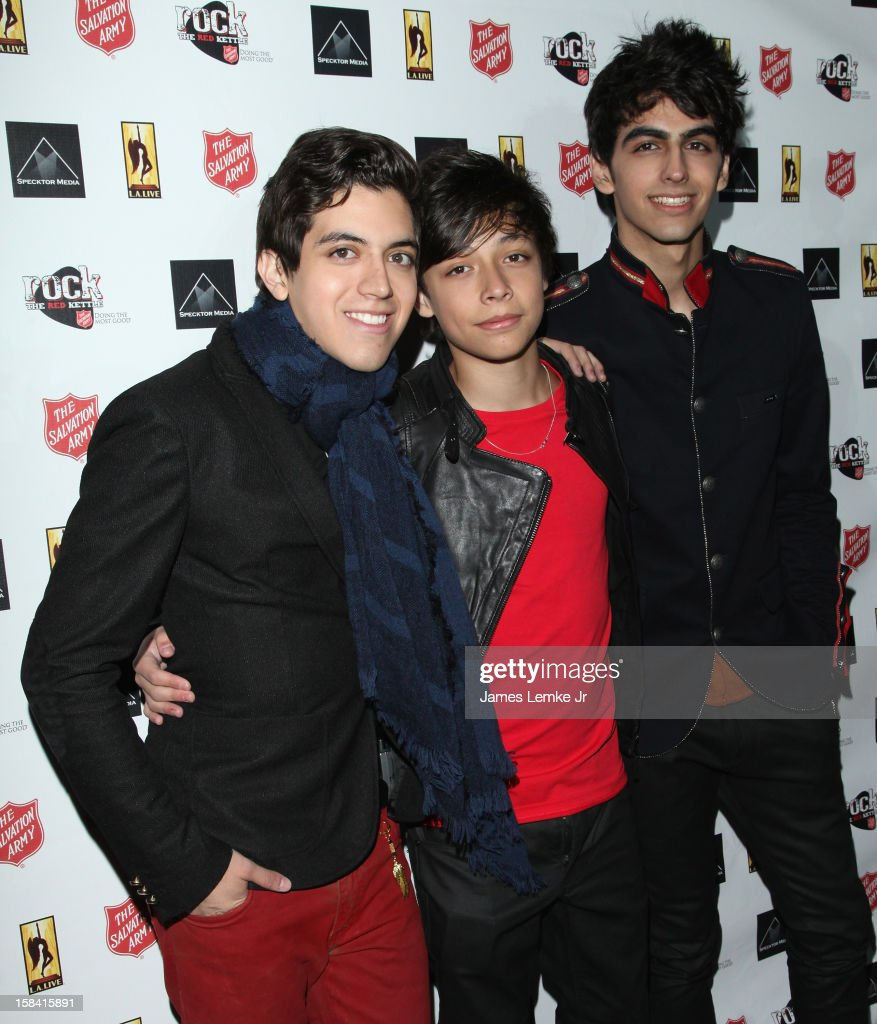 Alex Michelli, Marcelo Michelli and Andrew Michelli from Sonus attend the 3rd Annual Rock The Red Kettle Concert Benefitting The Salvation Army held at the Nokia Theatre L.A. Live on December 15, 2012 in Los Angeles, California.