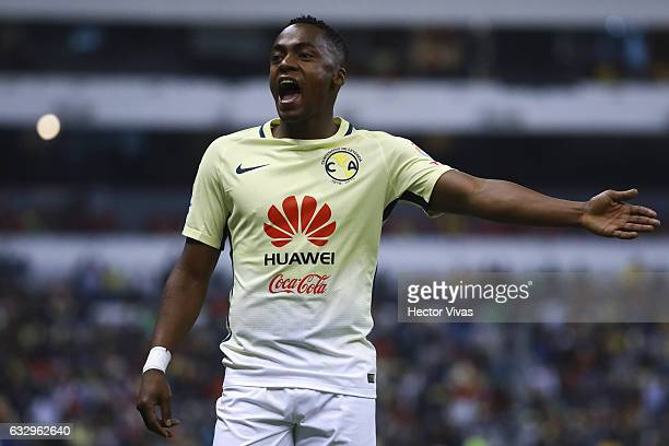 Alex Mina of America reacts during the 4th round match between America and Veracruz as part of the Torneo Clausura 2017 Liga MX at Azteca Stadium on...