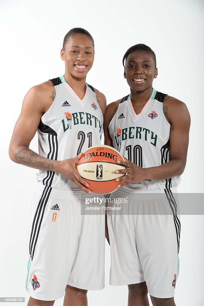 Alex Montgomery #21 and Tyaunna Marshall #10 of the New York Liberty poses for a portrait during 2014 WNBA Media Day at the MSG Training Facility on May 12, 2014 in Tarrytown, New York.
