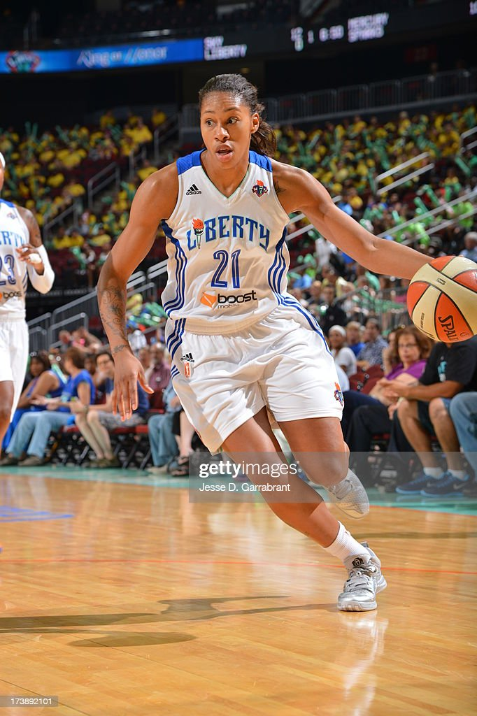Alex Montgomery #21 of the New York Liberty drives against the Chicago Sky during the game on July 18, 2013 at Prudential Center in Newark, New Jersey.