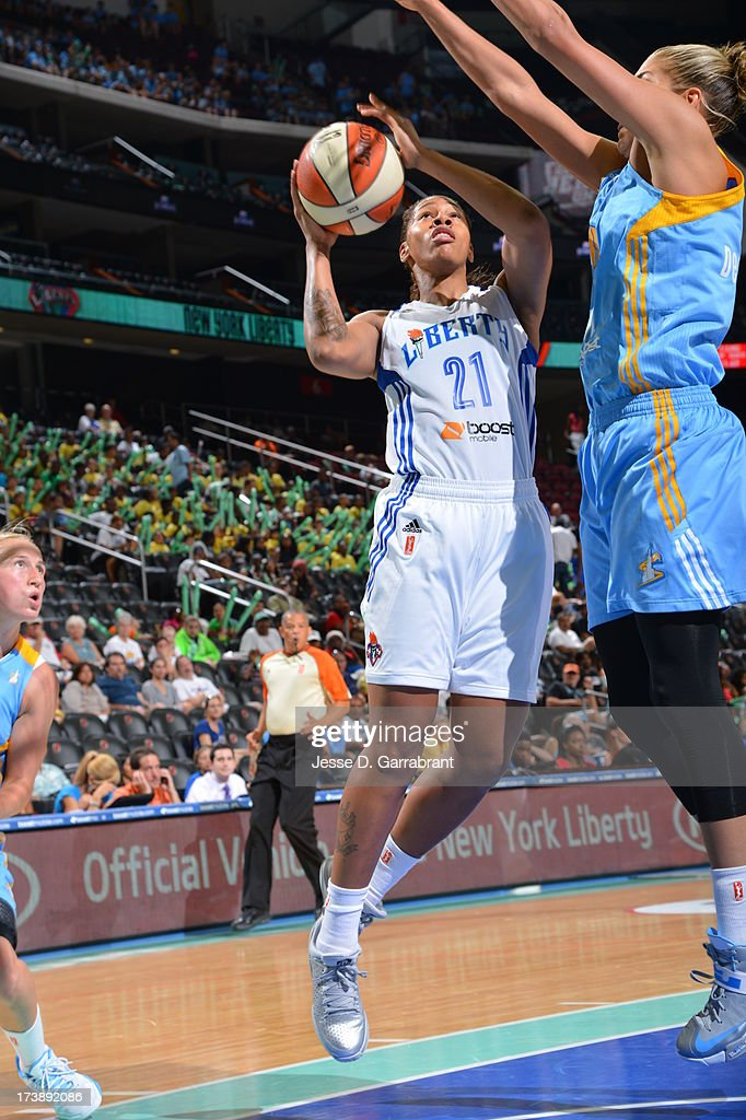 Alex Montgomery #21 of the New York Liberty shoots against the Chicago Sky during the game on July 18, 2013 at Prudential Center in Newark, New Jersey.