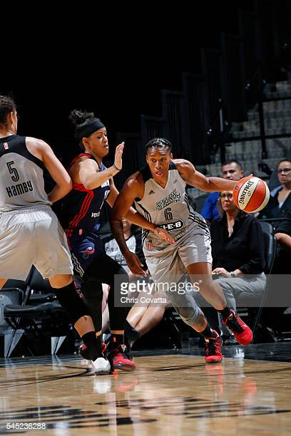 Alex Montgomery of the San Antonio Stars drives to the basket against the Washington Mystics during the game on July 6 2016 at ATT Center in San...