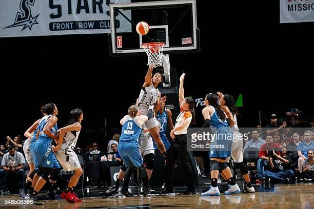 Alex Montgomery of the San Antonio Stars grabs the rebound against the Minnesota Lynx on July 12 2016 at ATT Center in San Antonio Texas NOTE TO USER...