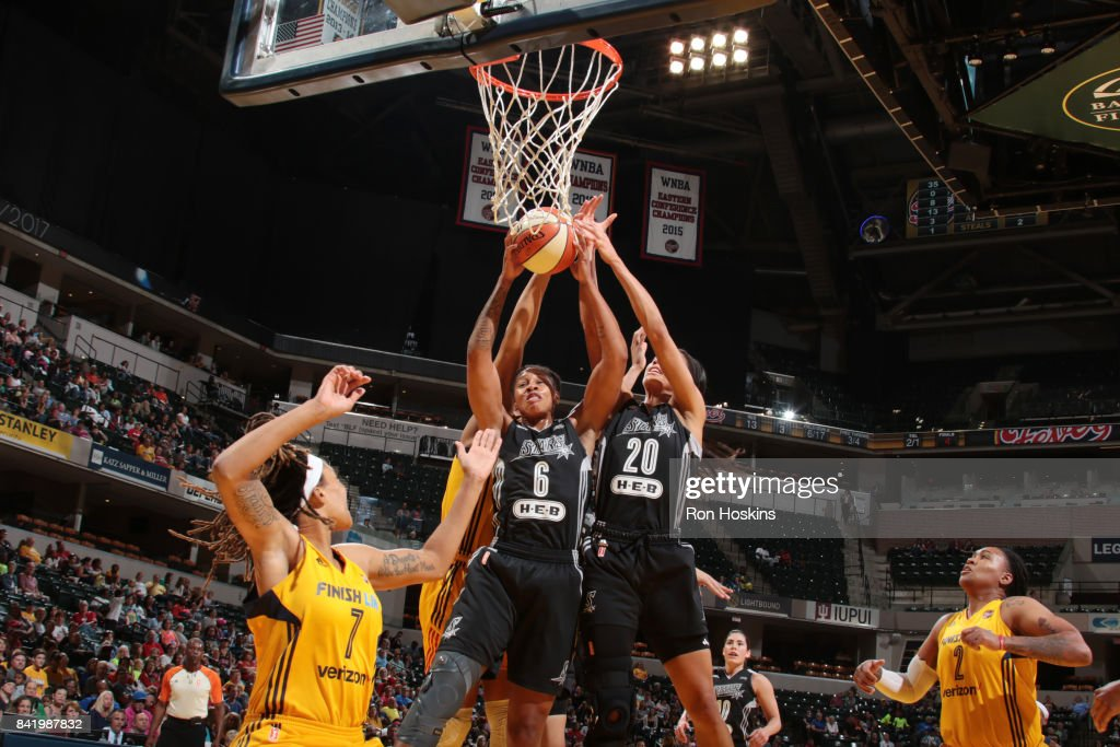 Alex Montgomery #6 of the San Antonio Stars grabs the rebound against the Indiana Fever on September 2, 2017 at Bankers Life Fieldhouse in Indianapolis, Indiana.