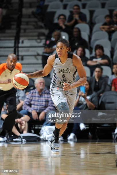Alex Montgomery of the San Antonio Stars handles the ball against the Dallas Wings on May 25 2017 at the ATT Center in San Antonio Texas NOTE TO USER...