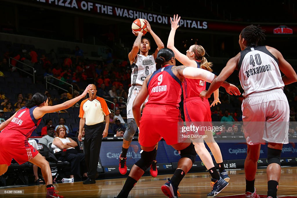 Alex Montgomery #6 of the San Antonio Stars shoots the ball against the Washington Mystics on June 29, 2016 at the Verizon Center in Washington, DC.