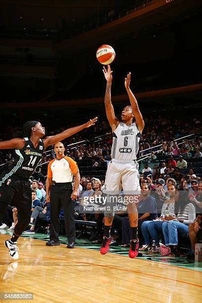 Alex Montgomery of the San Antonio Stars shoots the ball against the New York Liberty on July 10 2016 at Madison Square Garden in New York New York...