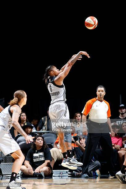 Alex Montgomery of the San Antonio Stars shoots the ball during the game against the New York Liberty on June 11 2016 at the ATT Center in San...