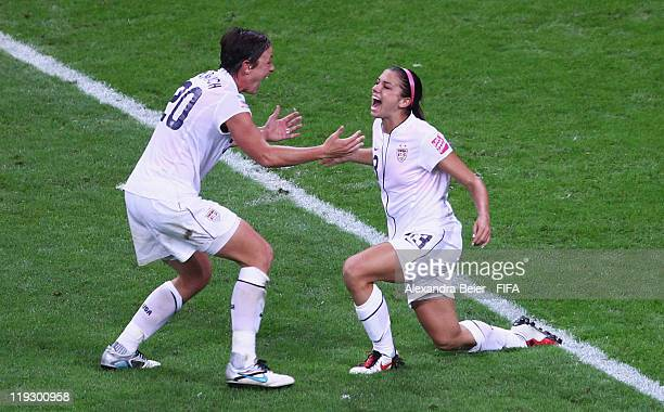 Alex Morgan and Abby Wambach of USA celebrate Morgan's first goal during the FIFA Women's World Cup Final match between Japan and USA at the FIFA...
