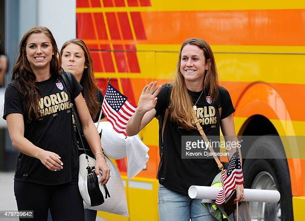 Alex Morgan and Heather O'Reilly of the US Women's national team arrives at Los Angeles International Airport after winning the FIFA Women's World...