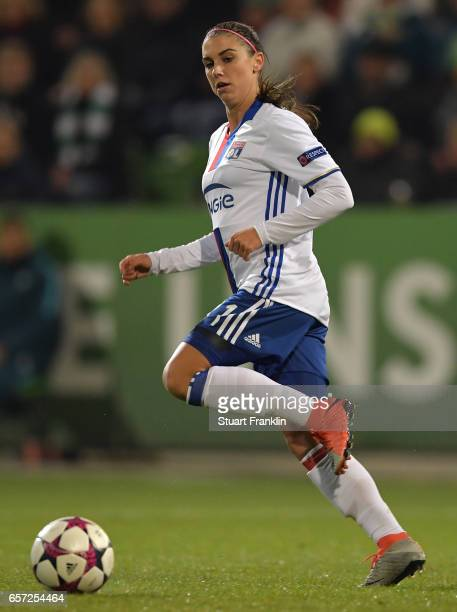 Alex Morgan of Lyon in action during the UEFA Women's Champions League Quater Final first leg match between VfL Wolfsburg and Olympique Lyon at...